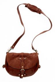 [Sample] Donatello, brown leather handbag with shoulder strap