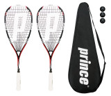 2 x Prince Pro Airstick Lite 550 Squash Rackets + Cover + 3 Balls