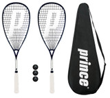 2 x Prince Pro Sovereign 650 Squash Rackets + 3 Squash Balls + Covers
