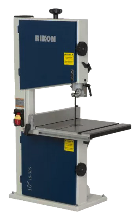 """Model 10-305: 10"""" Bandsaw • 4-5/8″ Re-Saw Capacity • Edge Facing Thrust Bearings • Large Cast Iron Table • Safety Paddle Switch • Includes 2″ Tall Fence • 2-1/2″ (O.D.) Dust Port - This is a favorite of woodworkers and hobbyists that do not require large cutting capacity and power for their projects, or have limited shop space for a larger size bandsaw."""