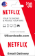 $30 Netflix gift card on UScardcode