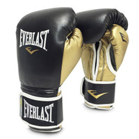 Everlast POWERLOCK HOOK & LOOP TRAINING GLOVES With Synthetic Leather Black/Gold