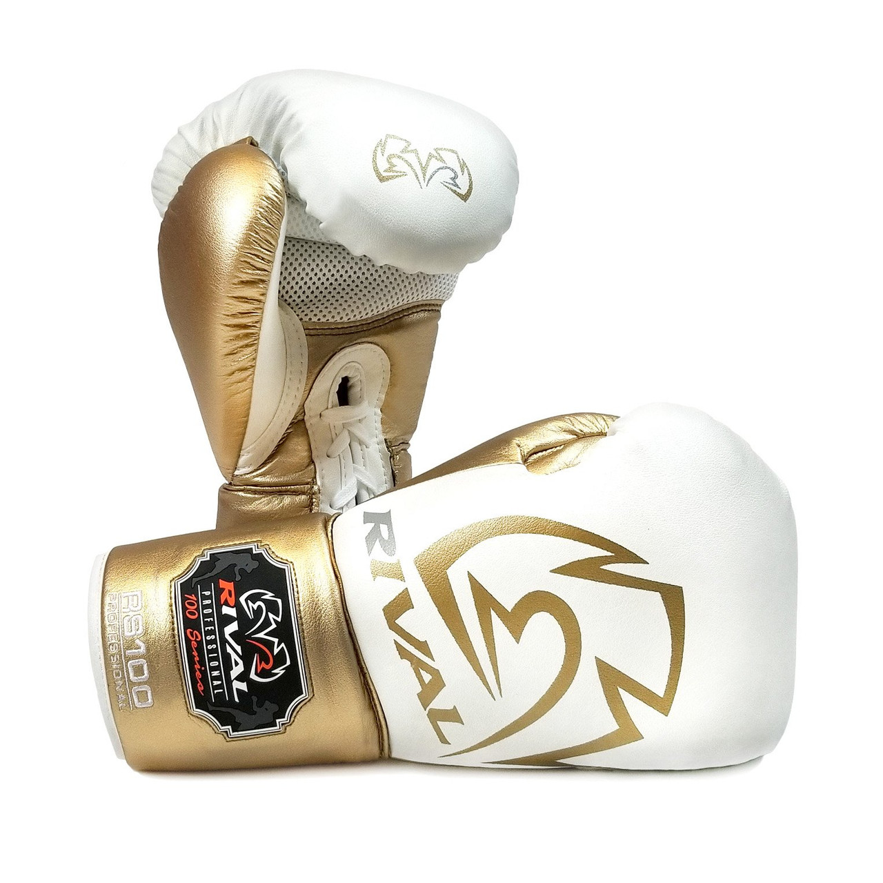 RIVAL RS100 Professional Boxing Sparring Gloves White/Gold