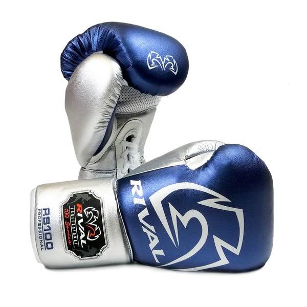 RIVAL RS100 Professional Boxing Sparring Gloves Blue/Silver