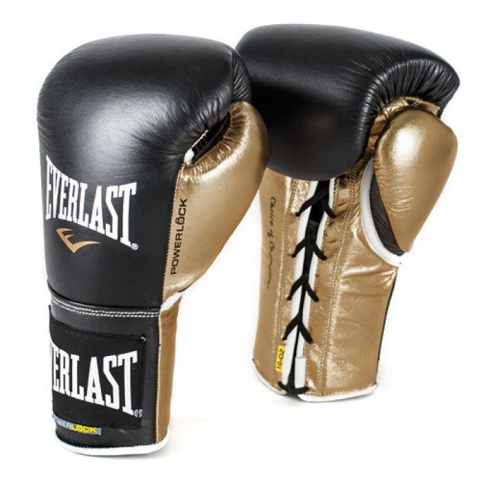 Everlast Powerlock Pro Fight Boxing Gloves Black/Gold
