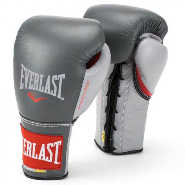 Everlast Powerlock Pro Fight Boxing Gloves Grey/Red