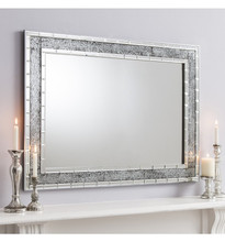Mosaic Crackle Glass Large Wall Mirror Shanghai Style 90cm