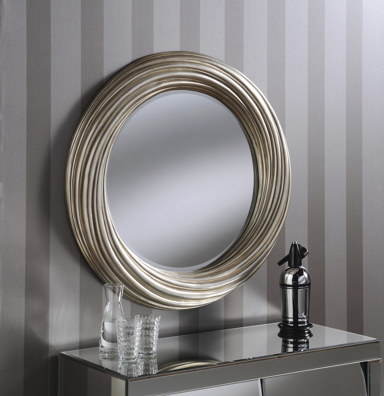 Adele Large Round Modern Wall Mirror Silver Frame Art Deco Antique 32 82cm Mirrors 2 Home