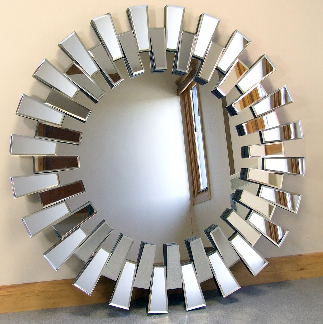Chelsea Art Deco Bevelled Venetian Round Wall Mirror 39 Diameter