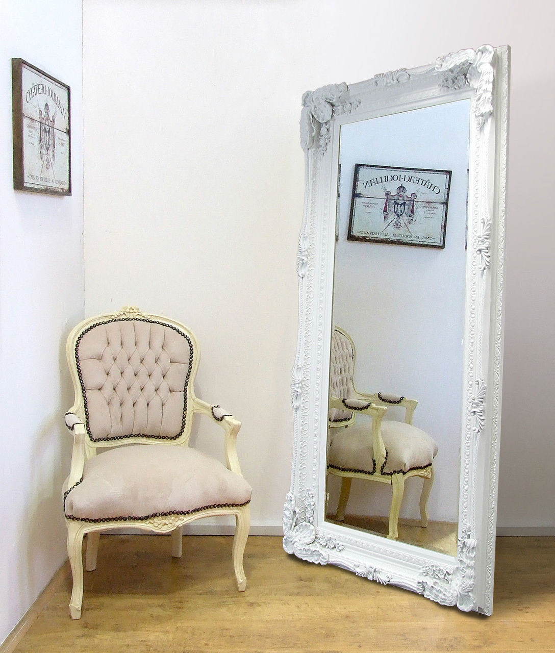 Madrid Ornate X Large French Full Length Wall Leaner Mirror White 35 X 71 Mirrors 2 Home