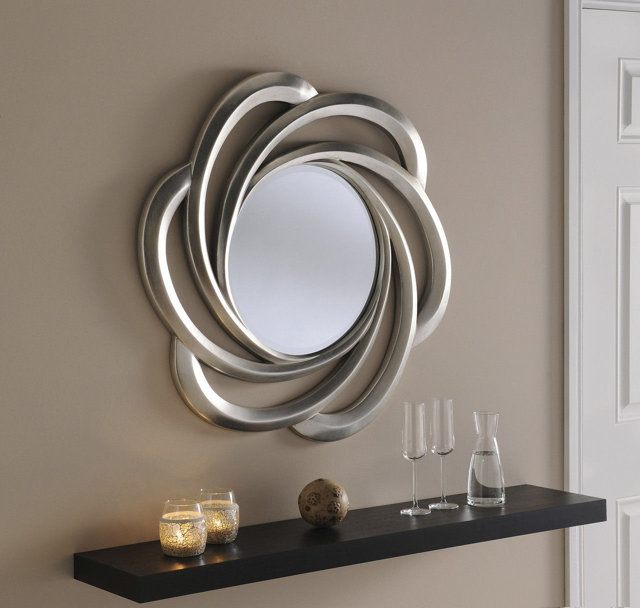 Turin Large Round New Wall Mirror Silver Swirl Frame Art