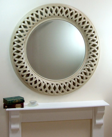 Venice Very Large Round Wall Mirror Ivory Frame Art Deco