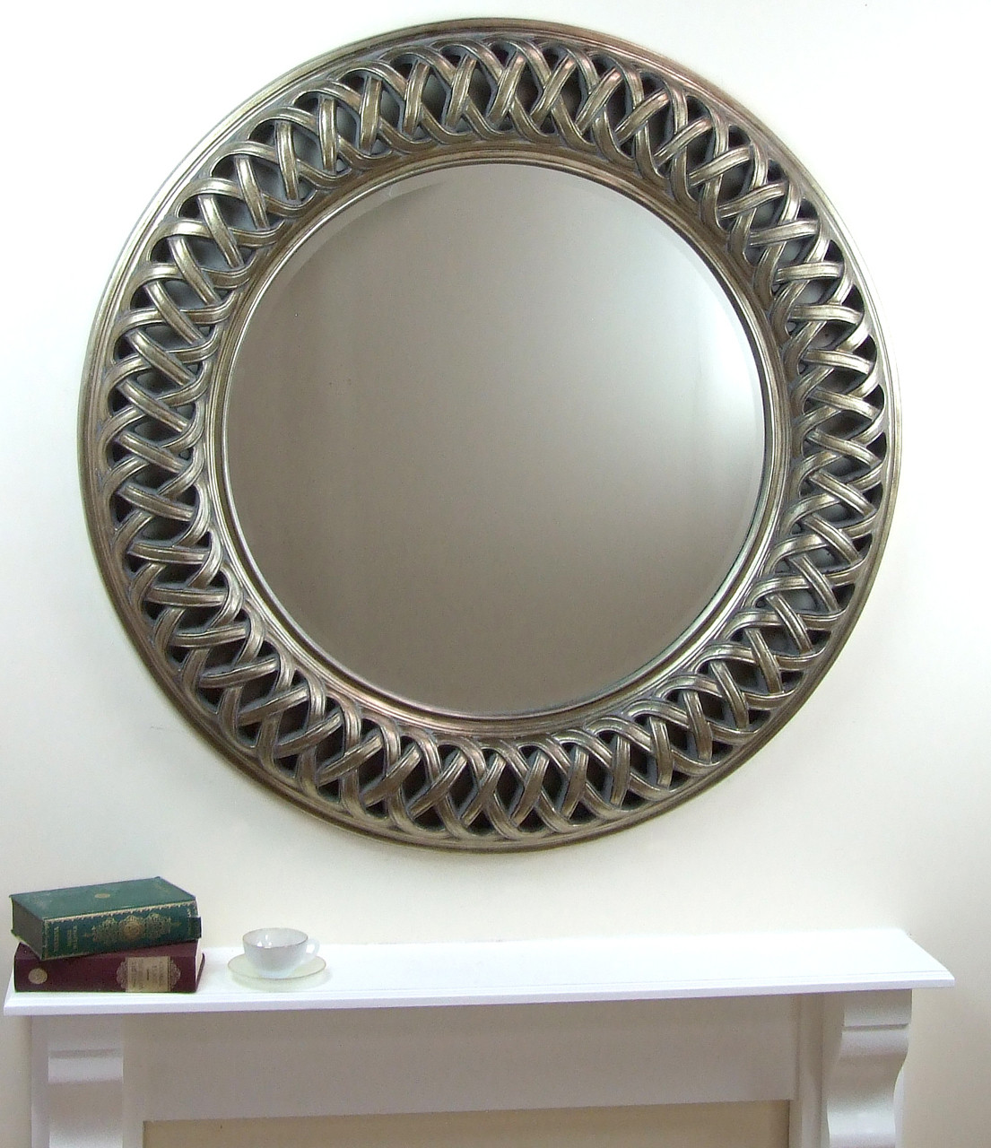 Venice Very Large Round Wall Mirror Silver Frame Art Deco