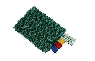 Characteristics •    Anti-bacterial material; •    suitable for use in for example kitchens and sanitary units; •    specifically suited for removal of persistent dirt; •    scrubbing combined with microfiber for large absorption capacity.  The Greenspeed® Handscrubby Flex is a valuable addition to the microfiber assortment and –technology. The cloth is a combined two-color cloth made of anti-bacterial material. The Handscrubby Flex may be used for scrubbing as well as inclusion of dirt: the dark-green polypropylene for scrubbing and the lighter colored microfiber for absorption.  The outstanding flexibility of the Greenspeed® Handscrubby Flex allows easy cleaning of round elements and corners. This, as well as the unique combination of scrubbing and absorption, result in excellent cleaning capabilities of difficult to reach areas such as around taps and in wash basins.  The wash ability and the composition of the material ensure the constant availability of a clean and hygienic cloth. Attention: do not use chlorine or bleach in combination with the Handscrubby Flex, these liquids affect the fibers and will reduce the powerful impact of the Greenspeed® Handscrubby Flex.