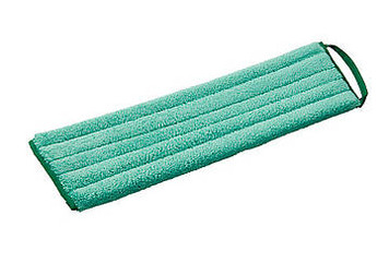Characteristics: Suitable for all hard floors, or uneven floors; High dust-absorbing capacity; Collected dust may be removed several times by beating or vacuuming; Fast and easy mop change due to Velcro backing; Loop for removal of mop; Efficient use because of color coding.  The Greenspeed® microfibre DustMop has been developed especially to damp sweep hard surfaces quickly and efficiently. Due to a high electrostatic energy, dust will easily stick to the mop surface. The 8 mm long piles also make the DustMop very suitable for uneven floors, such as flagstones or uneven tile floors.  While using the DustMop you may either beat or vacuum the dust out of the mop in order to be able to sweep a larger area with one mop. After use, the mop can be laundered.  The loop at the side ensures that the dirty surface does not have to be touched while changing mops. This changing is quick and simple because the backing of the DustMop is made of Velcro. Color-coded mops guarantee an efficient and hygienic use.