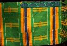 Kente Cloth Tallit - Green with Multi-color 5-strip