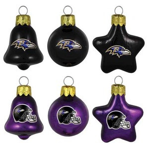 Baltimore Ravens Mini Blown Glass Ornaments 6 Pack