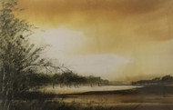 "PATRICK J. O'CONNOR:1960- Ithaca NY ""Sunlit Meadow""  Watercolor Painting Framed"