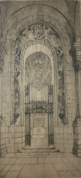"JOHN HOUSTON (Scottish 1930-2008):""Scottish War Memorial"" Etching Pencil Signed"