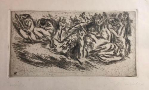 "HEINRICH TISCHLER: ""Troubel (Turmoil)"" Etching Ca 1930 Pencil Signed Gold Frame"