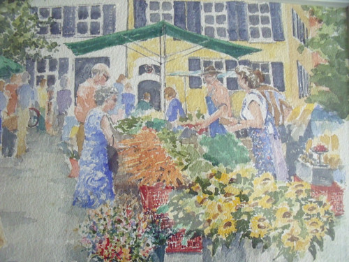 "KATHRYN HAYES: ""Harvest's Bounty"" Floral Watercolor CA 1990 Signed Custom Framed"