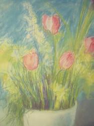 "RICHARD C. KARWOSKI: (NYC 1938-1993) ""Untitled Flowers"" Pastel Ca 1975"