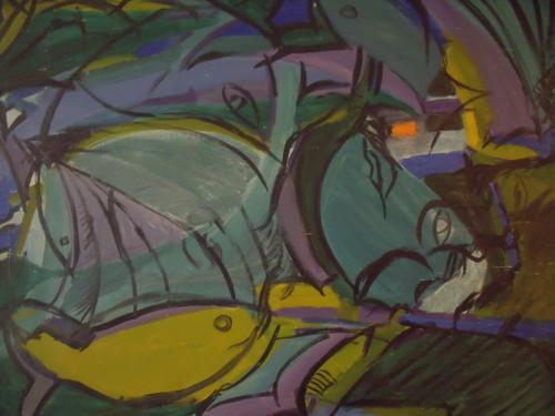 "BEN BENN: (Amer 1884-1983) ""Fish Abstract"" Oil  On Canvas Ca 1952 Custom Framed"