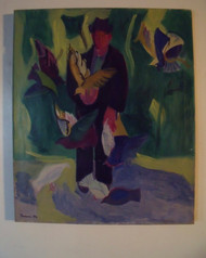 "BEN BENN: (Amer 1884-1983) ""Man Feeding Birds"" Oil  On Canvas Ca 1952 Custom Framed"