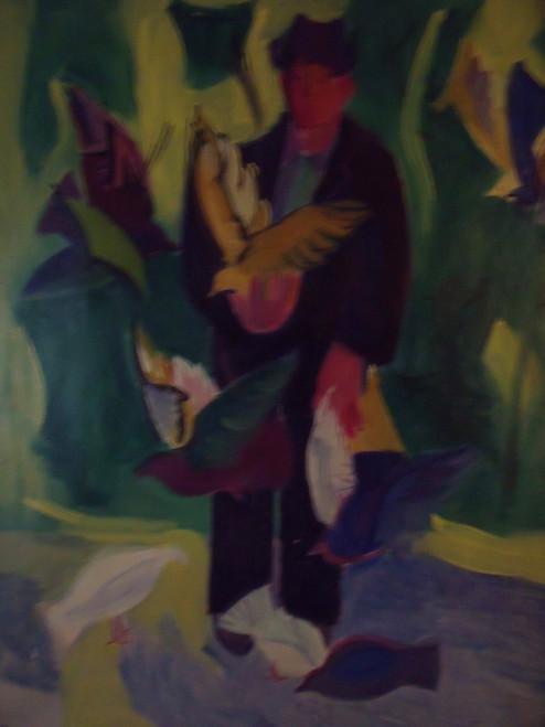 "BEN BENN: (Amer 1884-1983) ""Man Feeding Birds"" Oil  On Canvas Ca 1952 Custom Framed"