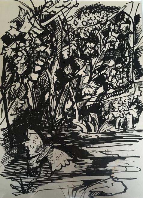 "BEN BENN: (Amer 1884-1983) ""Landscape With Butterflies"" Oil  On Canvas Ca 1952 Custom Framed"
