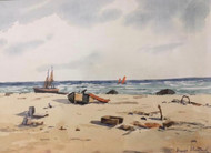 "GEORGE STIMMEL:1880-1964 NYC ""At The Beach"" Watercolor Painting Gold Frame"