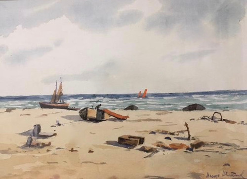 """GEORGE STIMMEL:1880-1964 NYC """"At The Beach"""" Watercolor Painting Gold Frame"""