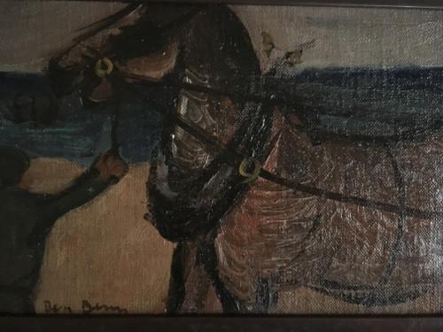 "BEN BENN: (Amer 1884-1983) ""Working Horse On Beach"" Oil On Canvas Custom Framed Signed From Nathan Krueger Collection"