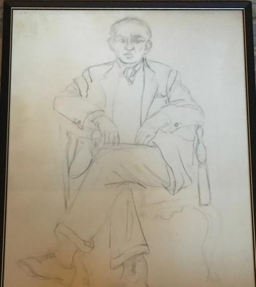 """BEN BENN: (Amer 1884-1983) Modernist """"Self-Portrait"""" Graphite Custom Framed"""