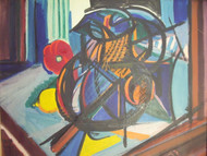 "BEN BENN: (Amer 1884-1983) Modernist ""Still Life With Mexican Pitcher"" Oil On Canvas 1951 Original Frame  (With Flash)"