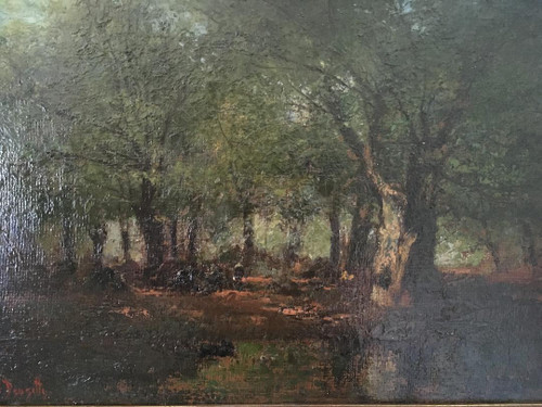 "LOUIS DOUZETTE: (1832-1932)""Woodland Dusk- Wald Dammerung"" Oil On Cardboard Orig Gold Frame"
