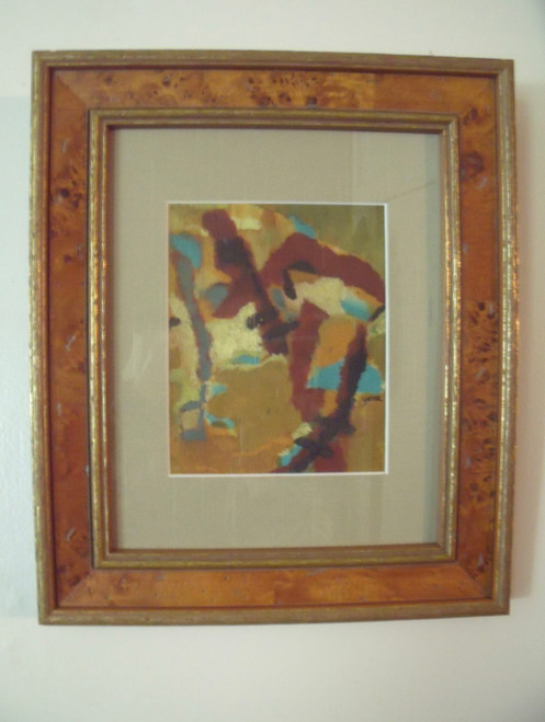 "YONA BEATTIE : ""Abstract Figure"" Oil On Panel Italian Burl Frame Silk Mat Ca 1965"