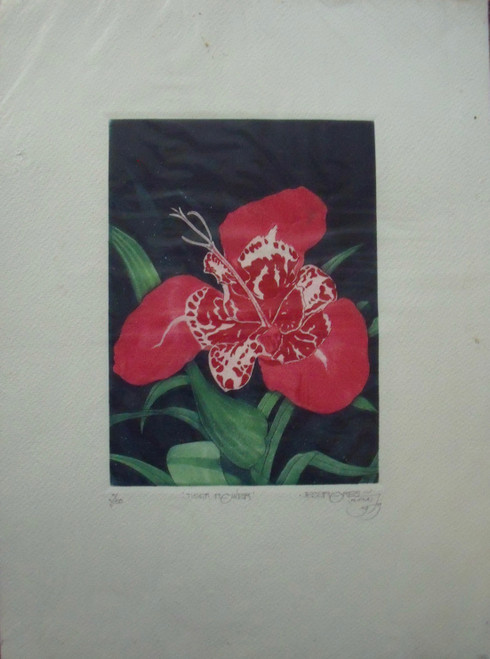 "JESS FLORES: Color Etching ""Tiger Flower"" Ca 1980"