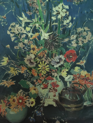 """RUTH A. ANDERSON:(1897-1957) """"Floral Still Life"""" Oil Painting Gold Frame Listed"""