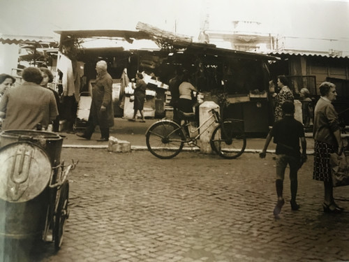 "HENRY GASSER:(1909-1981) Photo ""Street Market With Bicycle"" Italy Ca 1950 Framed"