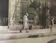 """HENRY GASSER:(1909-1981) Photo """"Old Woman With Cane & Boy"""" Italy Ca 1950 Framed"""