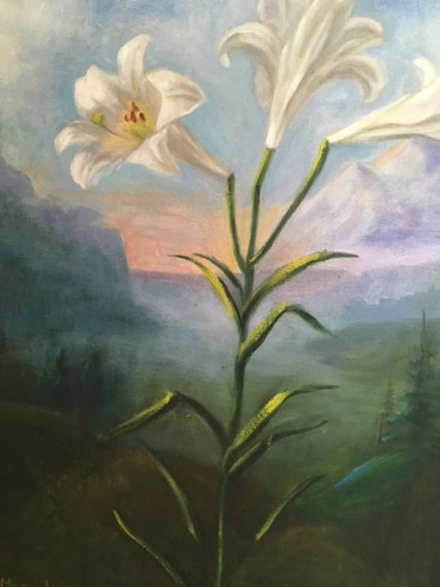 """META GRIMM LACEY:(1888 - 1976) """"Lily Landscape"""" Gold Custom Frame Mid Century"""