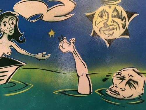 "DOUG Z: Spraypaint Surrealizm ""Catch A Drowning Star"" Painting Element Artist"