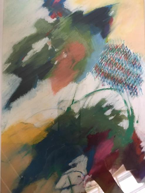 "CYNTHIA KNAPP: Amer Atlanta GA  ""Flying Colors"" Pastel Abstract Signed 1996 Framed"