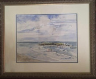 "Description: BARBARA WASZAK GRENA: ""Wading Jersey Shore"" Watercolor Painting Custom Frame"
