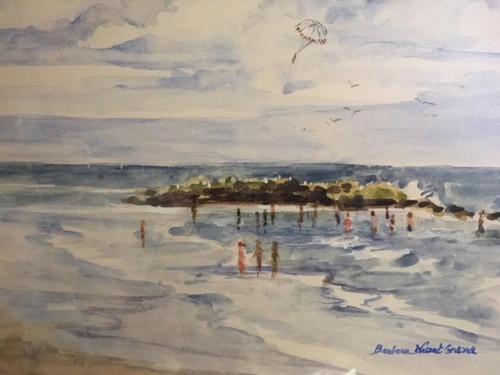 "Description: BARBARA WASZAK GRENA: ""Wading Jersey Shore"" Watercolor Painting Custom Frame"