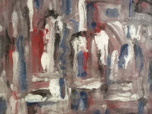 """Description: PAUL NICKEL""""WELSH"""" (AMER.1948-2008): """"American Ice Storm"""" Modernist Painting Mixed Med"""