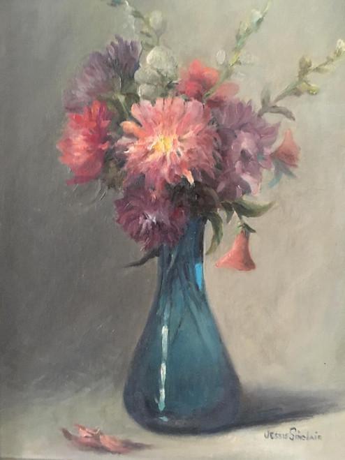 """JESSIE SINCLAIR: """"Floral Bouquet"""" Oil Painting Ca 1960 Silver Frame Gorgeous!"""