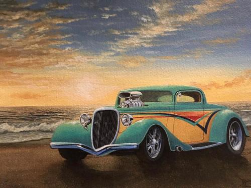 "BOBBY BURG: (Amer 1958) ""Hotrod 8"" Acrylic On Warecolor Paper Black Frame Listed"