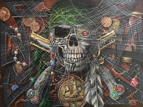 """BOBBY BURG: (Amer 1958)""""Pirate"""" Acrylic On Watercolor Paper Silver Framed Listed"""